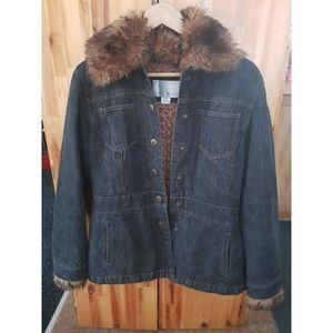 Nine West Women's Denim Faux Fur Jacket Medium